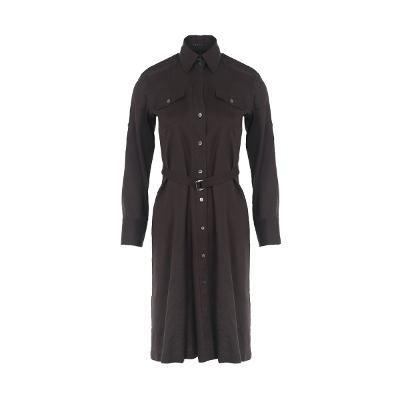 belt point pocket shirt dress brown